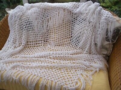 """HAND CROCHET   WHITE  BABY  SHAWL               approx  48"""" square plus fringing"""