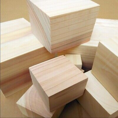 10pcs Natural Wooden Cube Beads 20mm Plain Unfinished Square DIY Craft Blocks