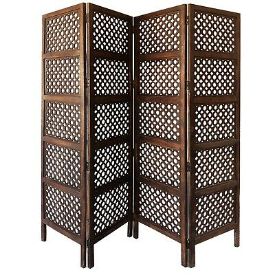 Hinged Room Divider with Circular Cutout Design, Brown Four Panel Mango Wood