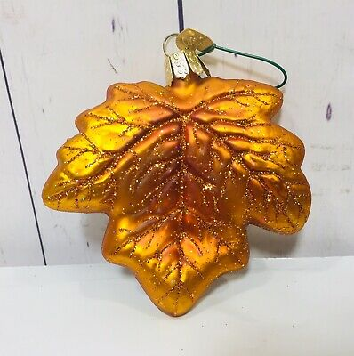 Maple Leaf Old World Christmas Glass Fall Ornament Orange/gold Thanksgiving
