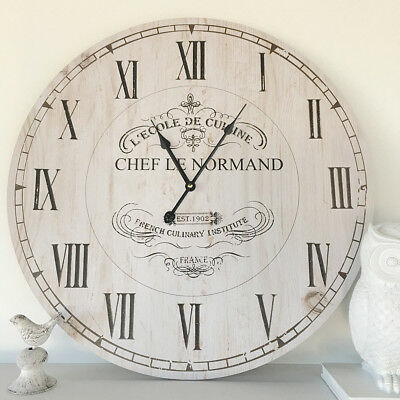 Large 60cm Vintage Rustic White Wall Clock/French Provincial/Hamptons/Neutral
