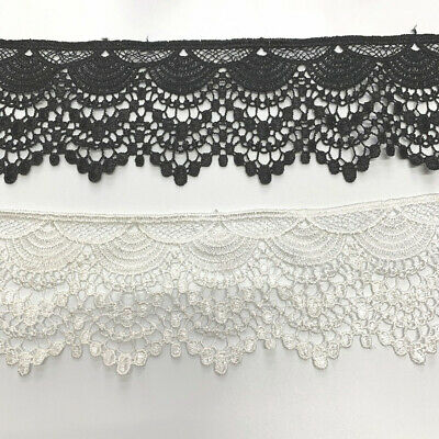 Black White Embroidery Trim DIY Lace Wedding Sewing Ribbon Bows Crafts Decor