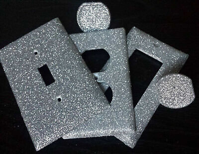 Silver Sparkle Glitter ~ Bling Light Switch Plates & Outlet Covers ~ Luxury Glam