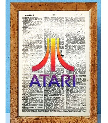 Atari retro gamer art dictionary page art print vintage gift antique book E83