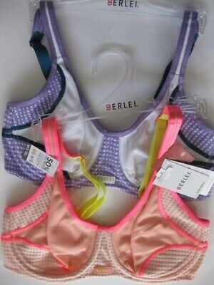 TWIN 2 PACK Berlei ELECTRIFY MESH Sports Bra 16DD Mauvelicious/Shy Blush Rp$90