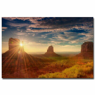 136165 Sunset USA Utah Monument Valley Nature Wall Poster Print AU