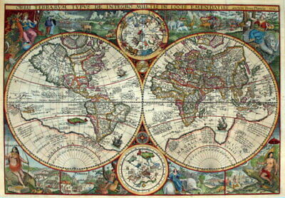 140796 Old Petrus Plancius Map Of The World Vintag Wall Poster Print AU