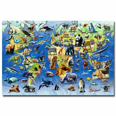 141048 Animals World Map Educational Children Room Wall Poster Print AU