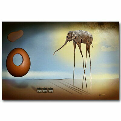 142197 Elephants Salvador Dali Abstract Wall Poster Print AU