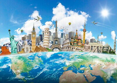146250 World Map Famous Landmarks Wonders New Wall Poster Print AU