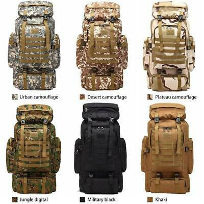 80L Molle Tactical Outdoor Military Rucksacks Backpack Camping Travel Pouch Bag