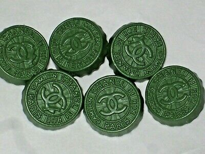 Chanel  Paris Cambon 6 Cc Logo Front Auth Olive Green  Button 14 Mm New Lot 6