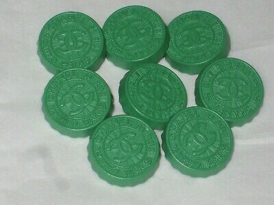 Chanel  Paris 8 Cambon Cc Logo Front Auth  Green  Button 14 Mm New Lot 8