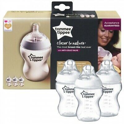 Tommee Tippee Closer to Nature Clear Bottles, 260 ml, Pack of 3 brand new