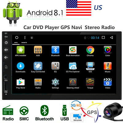 """Android 8.1 Car Stereo Radio 2 DIN 7"""" NO DVD Player GPS Wifi 4G Camera BT AUX SD"""