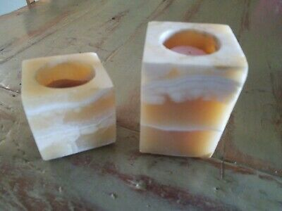 Lot of 2 Alabaster Stone/Marble Candle Holder Votive