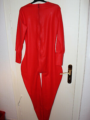 Neu Latex Overall Catsuit rot Gr. M / L
