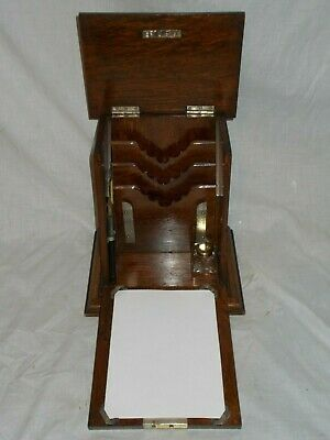 Antique Victorian Inlaid Solid Oak Stationery Writing Box Desk Table Top Cabinet