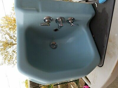 Mid-Century 1953 Blue Cast Iron Kohler Bathroom Sink