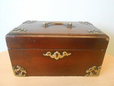ANTIQUE 18THC CHIPPENDALE BRASS FRETWORK MAHOGANY TEA CADDY c1780