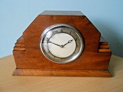 Old Art Deco Walnut Mantle Clock, Inscribed By Princess Mary, Lord Harewood,1935