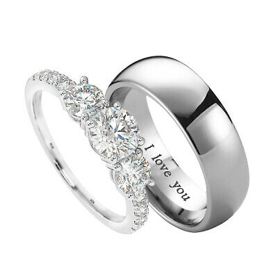Lovely Couple Ring Set - Titanium and 925 Sterling Silver Wedding Ring Set