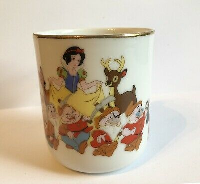 Vintage Disney Snow White Seven Dwarfs Ceramic Mug Gold Rim Made in Japan