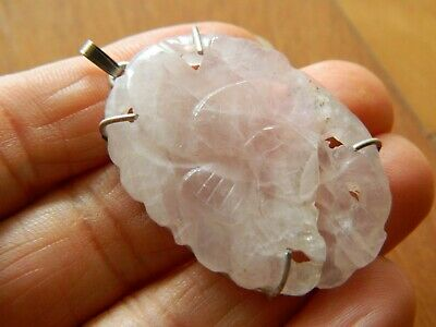 Antique Chinese Carved Floral Pink Rose Quartz Sterling Silver Vtg Pendant~Nice