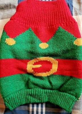 Knitted Christmas Jumper for a small dog - Santa's Elf - Clothing - Puppy