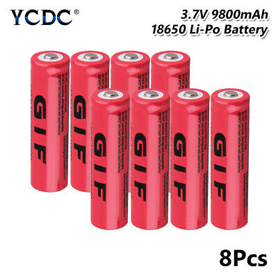 18650 battery for flashlight torch toy 3.7v 9800mah rechargeable cell 8pcs 38D0