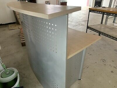 Reception Desk Counter - Curved Beech Metal