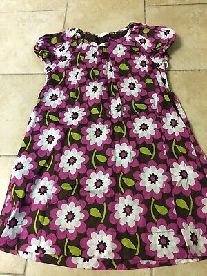 Mini Boden Pink/brown Floral Lined Cotton Dress, Girls Size 11-12