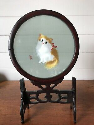 Vintage Chinese Silk Cat Kitten Double Sided Embroidery In Glass With Wood Stand