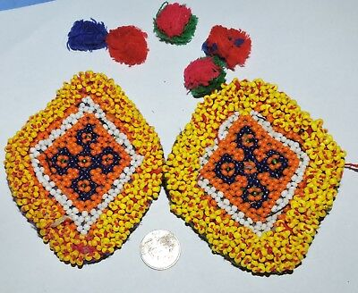 t62 2hand beaded tribal vintage patches . lot pf 2 matching hand beaded tribal