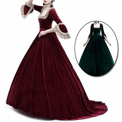 HOT Womens Victorian Renaissance Square Neck 3/4 Sleeve Cosplay Medieval Dress
