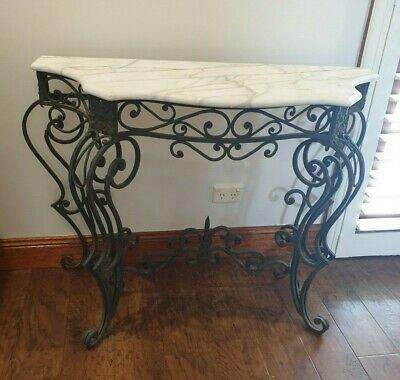 Antique Wrought iron and marble hall table