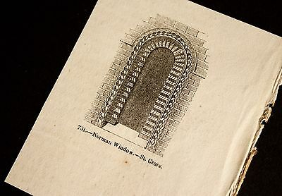 Small Vintage Print - Medieval Norman Window  - 3 inches wide Engraving
