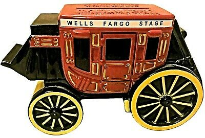 Wells Fargo Stagecoach Cast Iron Metal Coin Bank with Key