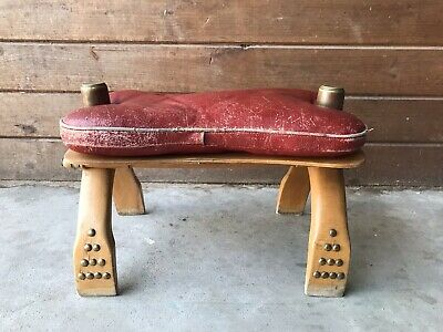 Red Camel Saddle Authentic Wooden & Brass