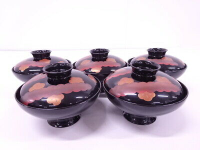 4270817: Japanese Lacquered / Lidded Soup Bowl Set Of 5 / Flower