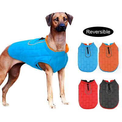 Reflective Dog Coat Jacket Reversible Wind/Waterproof Clothes for Dogs Labrador