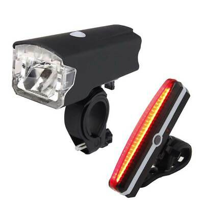Bicycle LED Head Front Light & Rear Tail Lamp Set MTB Road Bike USB Rechargeable