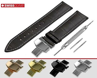 Fits EMPORIO ARMANI Dark Brown Watch Strap Band Genuine Leather For Clasp Pins