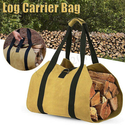 Firewood Carrying Log Carrier Bag 16oz Waxed Canvas Fireplace Stove Wood  !
