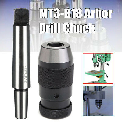 "1-16MM Lathe Drill Chuck Keyless 1/32""- 5/8"" Self Tighten + MT3-B18 Arbor !"