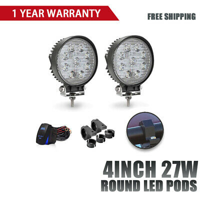 2X4In 27W Round Led Work Light Cube Fog Pods Driving Lamp For Jeep ATV + Wiring