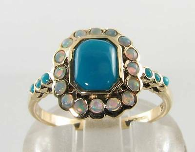 Lovely 9K 9Ct Gold Persian Turquoise Opal Halo Art Deco Ins Ring Free Resize