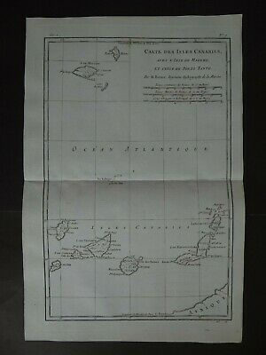 1780 Bonne Atlas map  CANARY ISLANDS - Carte Isles Canaries Madere - Madeira