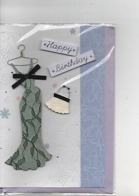 CARTE-Happy Birthday.relief.robe et sac.17,50x 11,5 cm