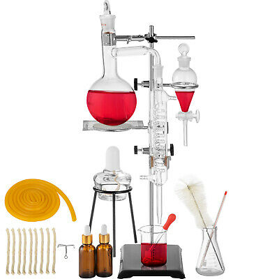 500ML Distillation Apparatus Lab Glassware Kit Stable Flasks Chemistry GREAT
